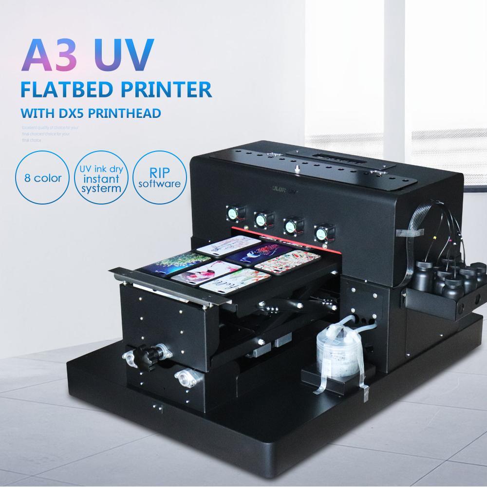 自動A3 UV打印機8種顏色在手機殼T卹上印刷 4