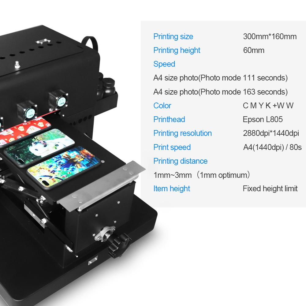 New upgraded A4 UV  Flatbed Printer with 6 color(Black) 4