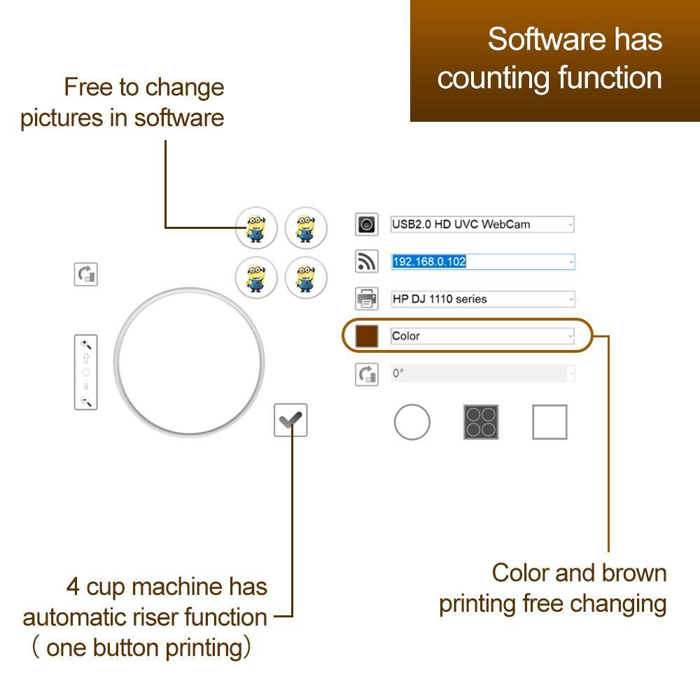 4杯拿铁艺术CSC1-4咖啡打印机自动用于食品茶咖啡 8