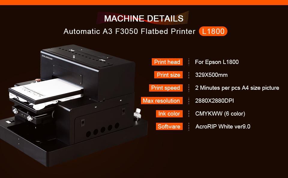 Colorsun新款A3 +尺寸F3050dtg T恤打印机 6