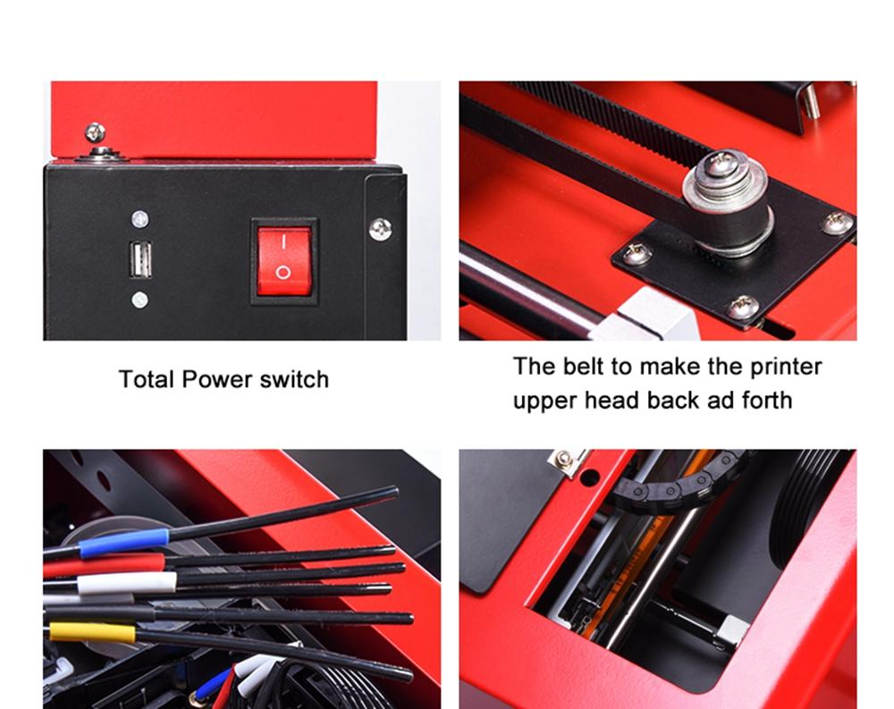 New upgraded A4 UV Flatbed Printer with 6 color(Red) 8