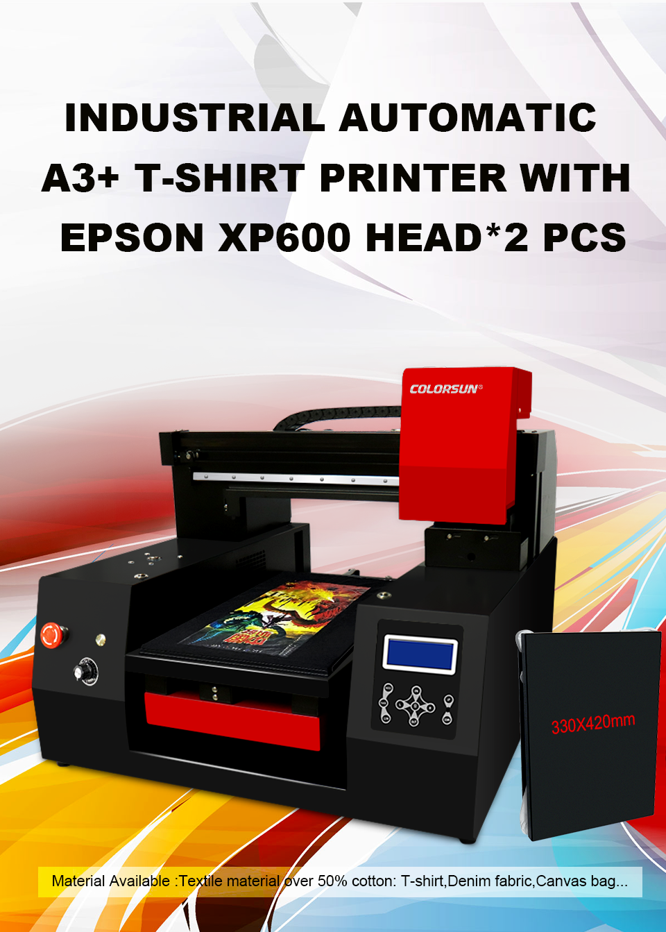 Automatic  3060 DTG printer with double printheads 3
