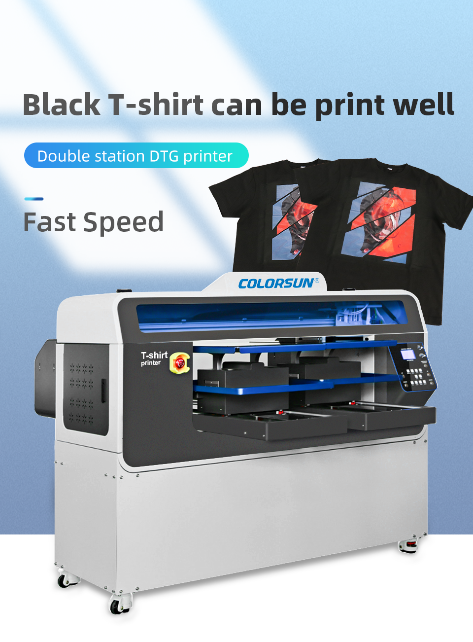 全自动双工位4720 DTG平板打印机 5