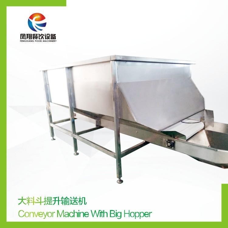 Conveyor machine with hopper