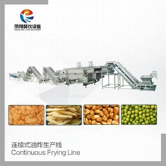 Continuous frying production line