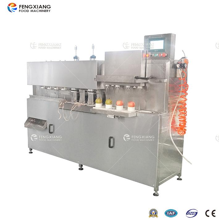 Apple (pear) peeling, nucleating and opening machine