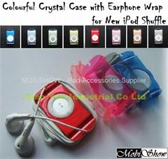 iPod Shuffle 2nd 多彩水晶耳機捲線透明殼