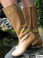 Fashion Lady's Shoes, Rain Boots, Riding Boots, Snow Boots with TPU Leather