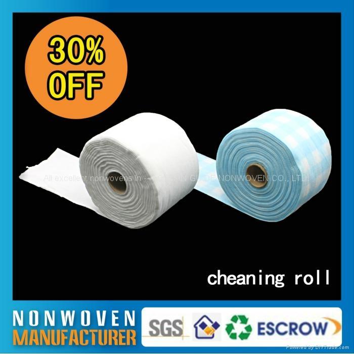 批发日常可回收一次性无纺布酒店柔巾卷擦拭布 1