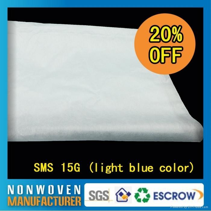 現貨15克SMS無紡布160cm幅寬淺綠/淺藍/白色 2