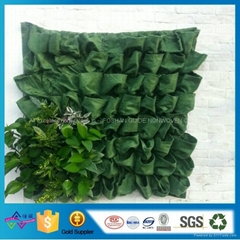 现货81口袋绿色毛毡美植袋 植物墙面植物袋 壁挂种植袋