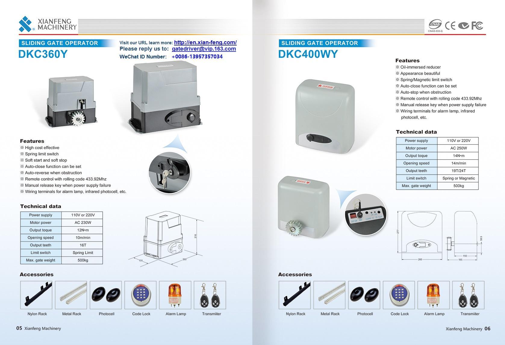 DKC360Y Automatismos para portas Gear Reducer 2