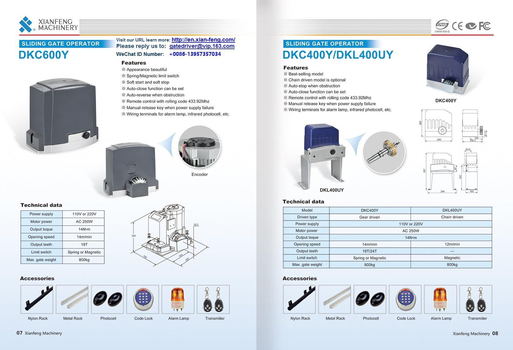 DKC360Y Automatismos para portas Gear Reducer 3
