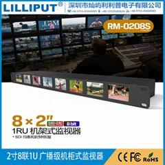 利利普 RM-0208S 2寸八联1U 广播级机柜式3G-SDI监视器8bit液晶屏
