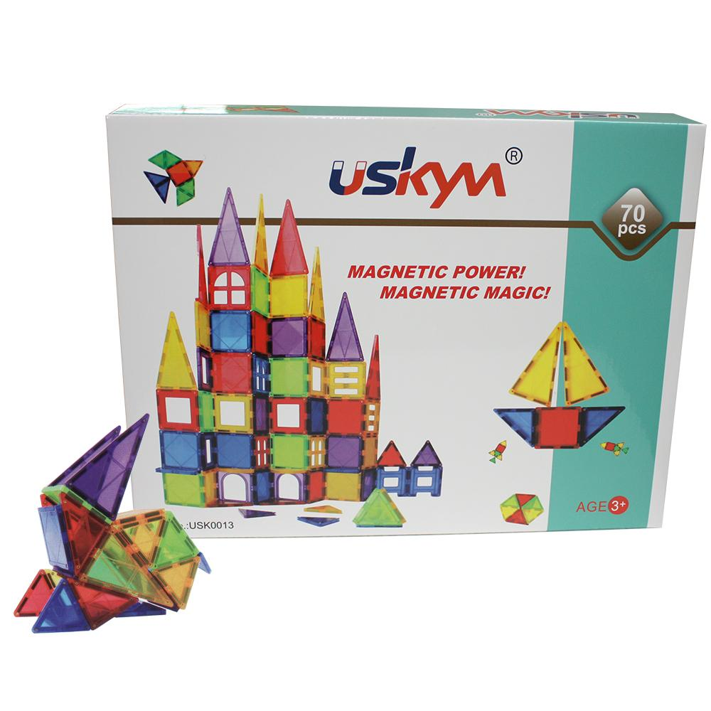 Kids Magnet Toys Magnet Building Tiles,  70pcs 3D Magnetic Building Blocks Set, 1
