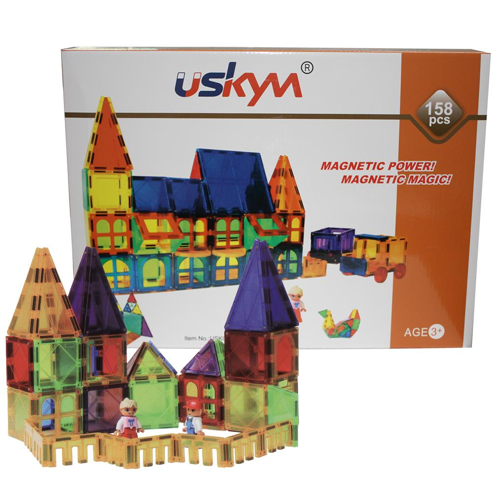 158 piece magnetic building blocks toys magnet tiles 3d clear vivid color 1