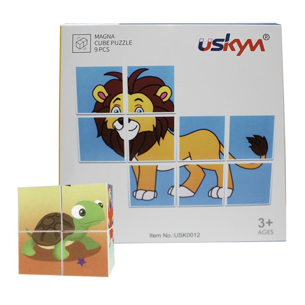 9pcs magnetic cartoon Plastic Cubes educational magnetic toys 1