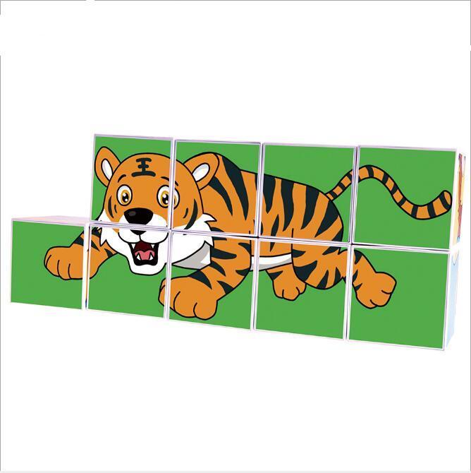 9pcs magnetic cartoon Plastic Cubes educational magnetic toys 2