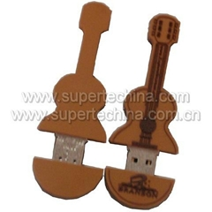 Silicone violin-shaped USB flash drive