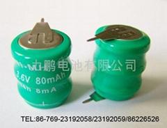 手电筒专用3.6V80MAH扣式可充电池