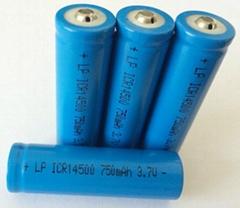 手電筒3.7V14500可充鋰電池750MAH圓柱鋰離子電池