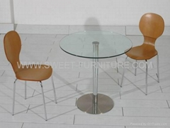 Offer office recepit table,Round glass dining table,four person table sets