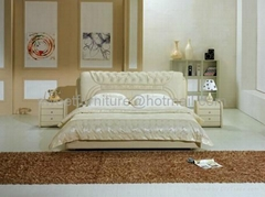Modern leather bed,Bedro
