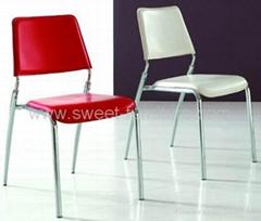 直銷餐廳金屬疊放椅子 硬皮接待椅 文員椅SB-506