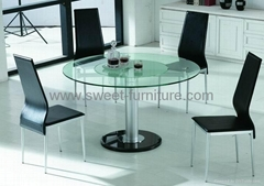 Swivel Round glass dining table,furniture manufacture