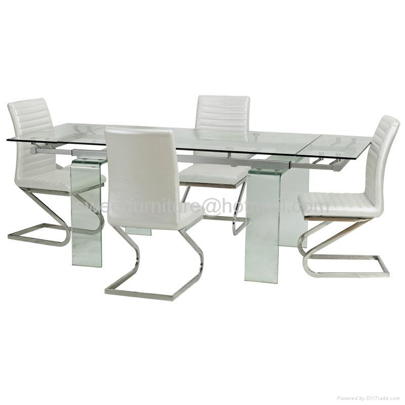 伸縮餐桌,玻璃餐台,功能餐桌,餐廳桌椅,出口傢具 1