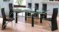 玻璃餐桌 餐厅餐台 拉伸功能餐桌 实木脚