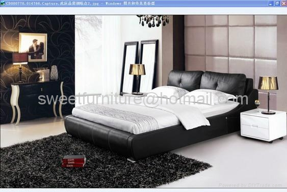 leather bed,bed,double bed,modern bedroom furniture C1080 3