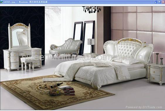 Modern leather bed,Bedroom Furniture 3