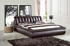 leather bed,bedroom furn