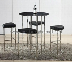 offer man-made marble and stainless steel bar table sets (1 table and 4 chairs)