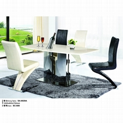 Offer dining sets marble,steel dining table ,pu dining chair