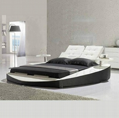 Offer modrn round leather bed,double bed,bedroom furniture C1080