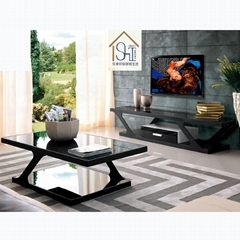 offer glass and metal TV stand and glass coffee table