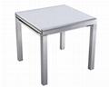 供應拉伸餐台 拉絲鋁材玻璃餐桌 全鋁桌子