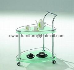 供应现代小推车 餐厅玻璃推车 电镀金属小餐车 SD-515