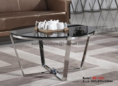 Round glass coffee table,stainless steel ceter tables