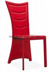直销餐厅金属椅子 硬皮接待椅