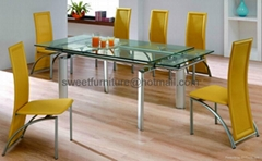 supply extension glass table,dining sets,dining table,table and chair