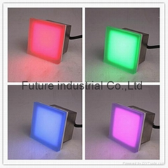 Outdoor 1.3W RGB color changing glass Stainless steel 24v led brick light