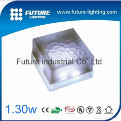 Outdoor  IP67 100x100mm 1.3W 12v recessed glass shelf ice led brick light