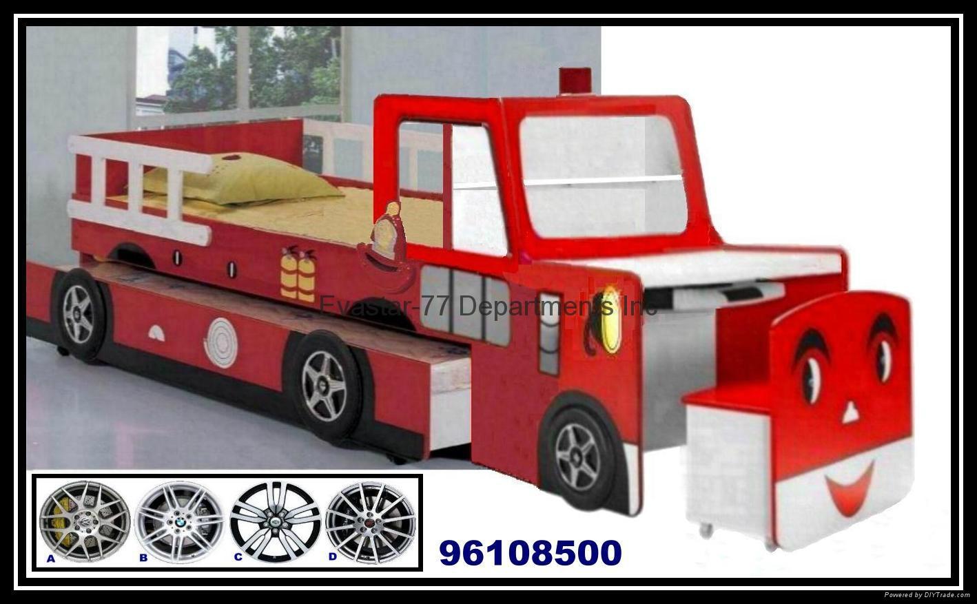 木製書桌雙層消防車兒童床
