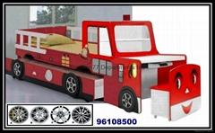 木制书桌双层消防车儿童床