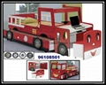 Wood Kid's Fire Engine Car Bunk Bed with Desk and Chest Chair
