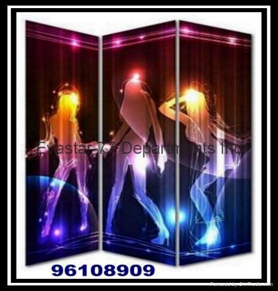 Canvas Printed Design 3-Screen Panel with LED Light 5
