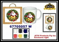 Ceramic Christmas Design Coaster Pad Wall Rack with 11 or 12 OZ Mug Cup